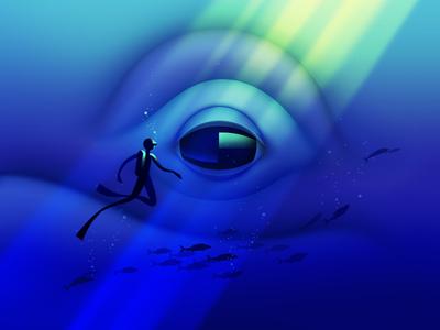 Hi, whale! fish diver whale ocean illustration