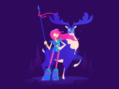 Valkyrie warrior north girl deer valkyrie illustration