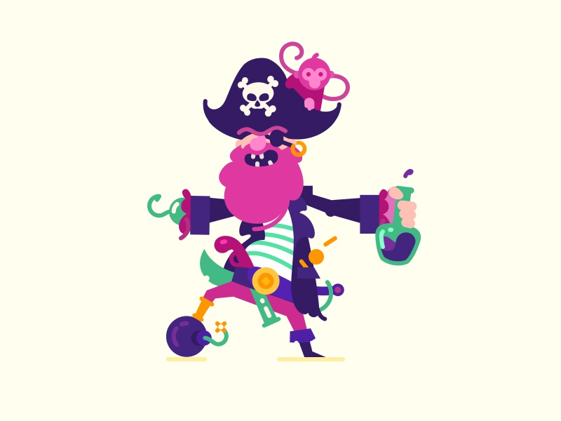 Sea Dog skull bomb rum monkey pirate flat illustration