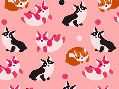 Corgi Pattern pink pattern dogs corgi