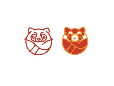 Olisava Logo Option 2 threads red panda logo knitting ball animal