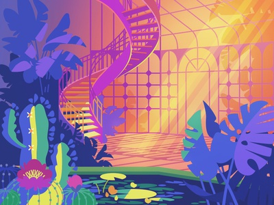 Greenhouse ladder water lilies pool cactus flowers plants greenhouse