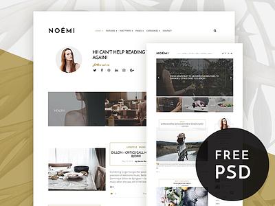 Noemi - Pure and Simple Blog Theme free psd beautiful elegant pure wordpress theme blogging blog