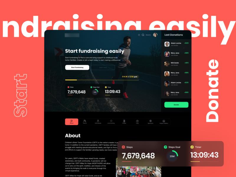 Minimal Dashboard/Website app typography website design ux fundraiser concept dashboard dark clean minimal ui