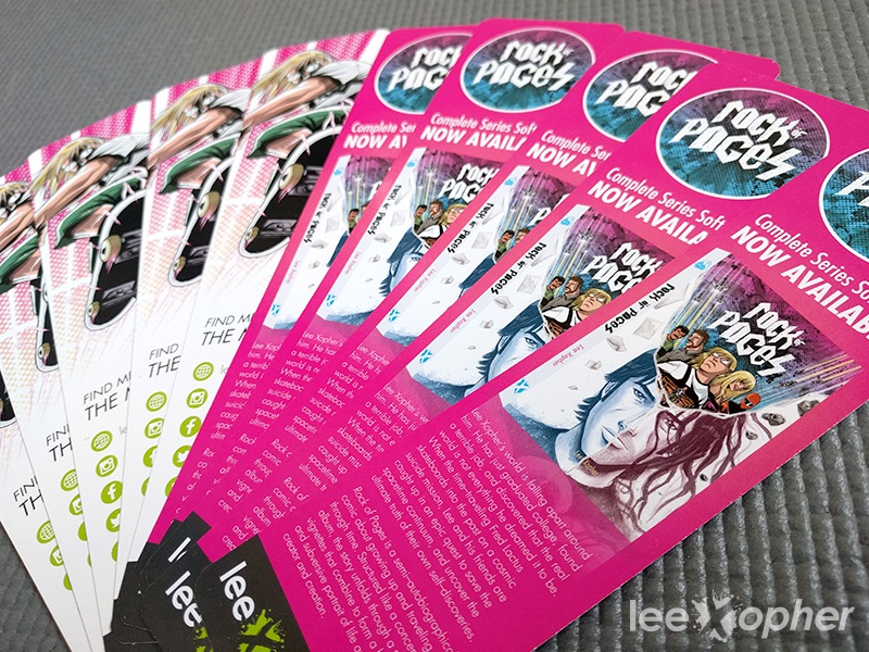 Promotional Bookmarks promotional freebies conventions comic con graphic design book design fred lactus rock of pages graphic novel books bookmarks