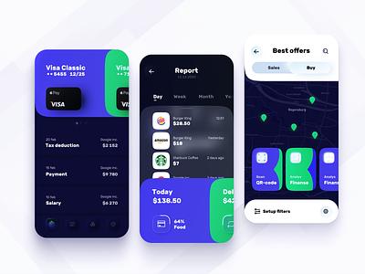 Mobile app for bold banking 高清 bold credit card dark theme modern save money 存钱 neomorphism money transfer fintech banking ux mobile