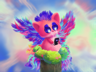 Illustration Funny animal with smartphone and wings 汉字 动物 cute animal ears smartphone mobile color wings character ui ux