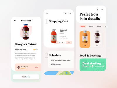 Mobile design, app for food and drinks mobile app design mobile design mobile app colors clear rounded 商品 drinks food mobile ui mobile app georgia