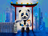 Panda going to Work and colorful City Background