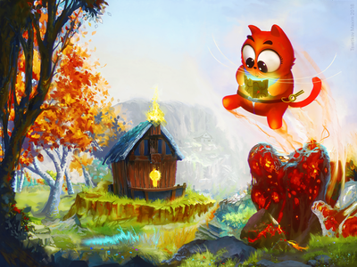 Digital illustration with cat and wooden house 游戏 开心 cat landscape trees illustration nature village game mood china asia