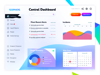 Dashboard Security Endpoint Protection 安 安 reinforce sophos settings management malware vpn critical private threat ransomware real-time security graphics powerful firewall endpoint colors dashboard protection