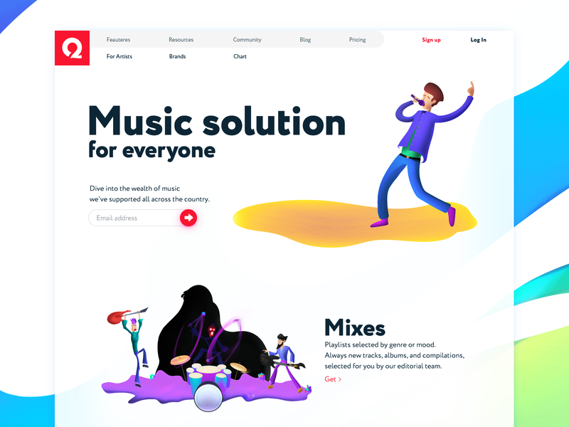 One Wavy Minimal Music Service Page QIANQIAN circuit tidal chaos service streaming menu baidu baidu music qianqian singer guitar rock band noise illustrations font landing page music