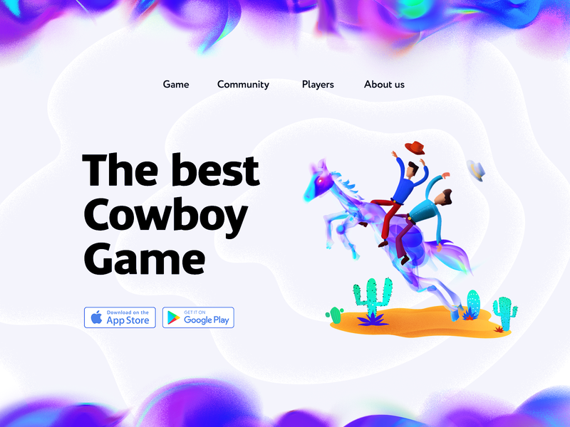 Cowboy game landing with stetsons and horse game flat character flat design promo stipple wild west stetson noise cowboy landing horse