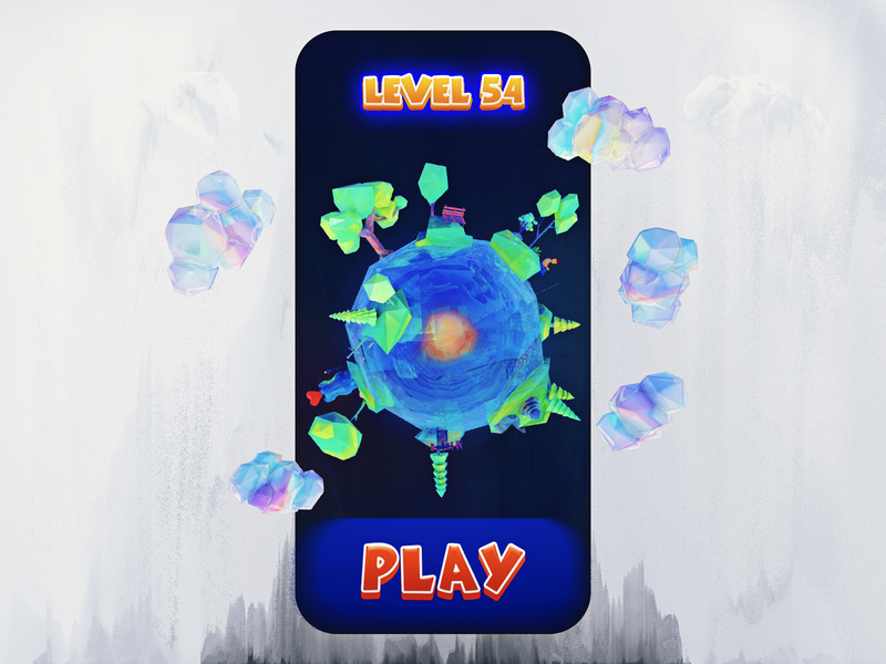 Game Mobile UI with 3D planet 美术 图案 应用 游戏 pixels unity3d unity mobile app clouds heart lowpoly level game tree polygon 3d mobile