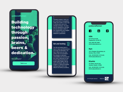 Adapt landing page for devices - Codecraftsmen digital design mobile web app design mobile website webdesign responsive website design web app website concept kirko team landing page design adapt adaptive design codecraftsmen