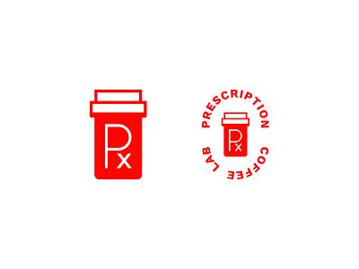 Perscription Coffee Lab Marks identity craft badge virginia beach roaster minimal logo brand mark coffee lab coffee prescription