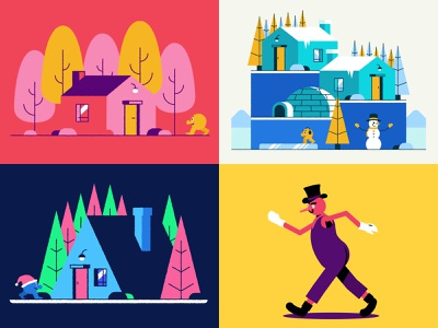 2018 vector flat design house landscape character 2018 animation after effects hiwow graphic design walk illustration 2d