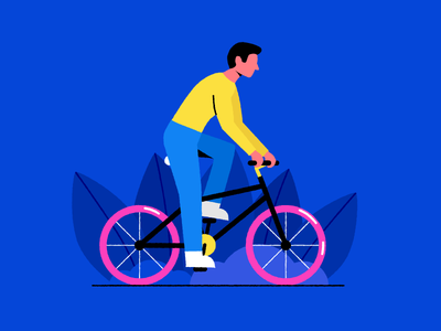 🚴Spring Biking 🚴 colorful blue cycling digital design vector simple person nature flat illustration spring ride character bike bicycle
