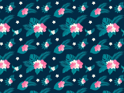 pattern with tropical flowers plumeria, hibiscus and palm leafs typography branding ui health and fitness flat illustration design palm leaf hibiscus plumeria tropical leaves pattern illustration vector