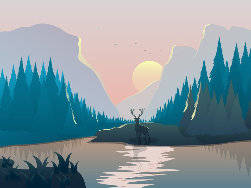 landscape with a deer, spruce forest and mountains at sunset gradients landscape design nature art nature illustration nature landscape illustration river background cute animal branding design creative character illustration sunset mountains forest deer lanscape vector