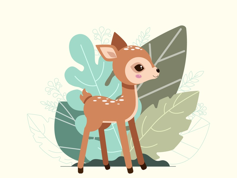 Cute baby deer on the background of decorative autumn leaves ui logo design brand identity kids illustration deer illustration adobe illustrator cute animal cartoon character flat illustration creative vector illustration