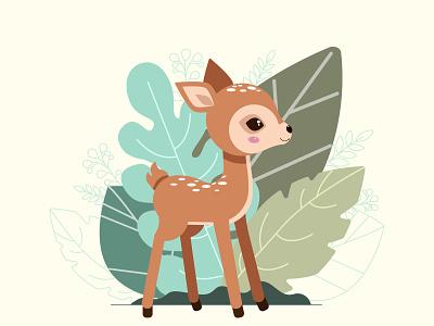 Cute baby deer on the background of decorative autumn leaves ui logo design brand identity kids illustration deer illustration adobe illustrator cute animal cartoon character flat illustration creative vector illustration