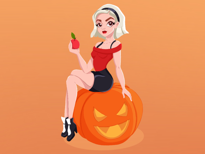Chilling Adventure of Sabrina stiker. stickers icon people digital art digital illustration witchcraft witch creative pumpkin cartoon  girl uiux tv show branding halloween adobe illustrator character designe sabrina spellman illustration procreate