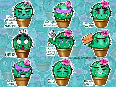 Funny cactus stickers for telegram. branding ui logo flat illustration design cartoon character character vector creative illustration