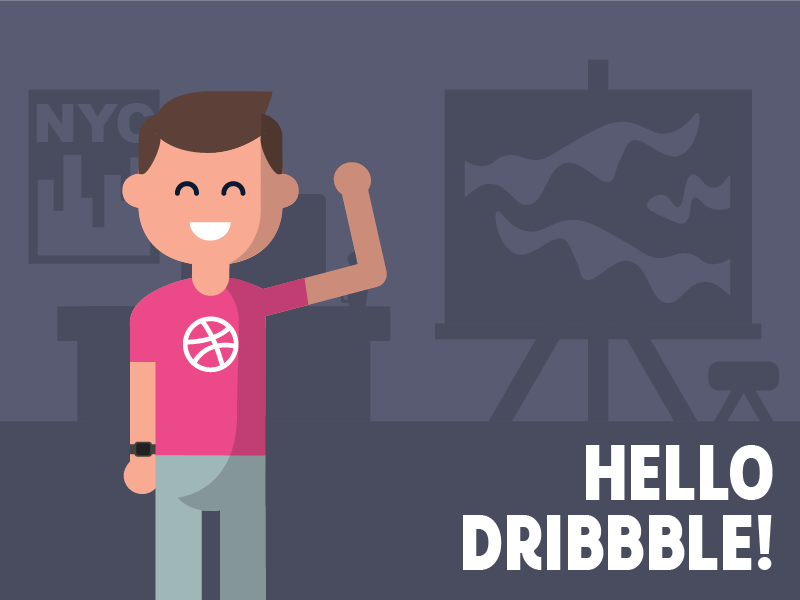 Hello Dribbble! basketball avatar 2d debut nyc flat new