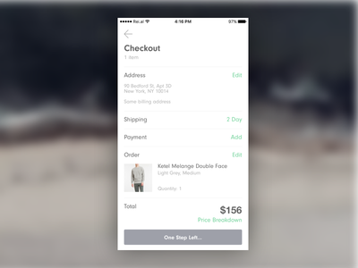 Credit Card Checkout 002 shopping norse checkout gif clothing app ios prototype origami dailyui