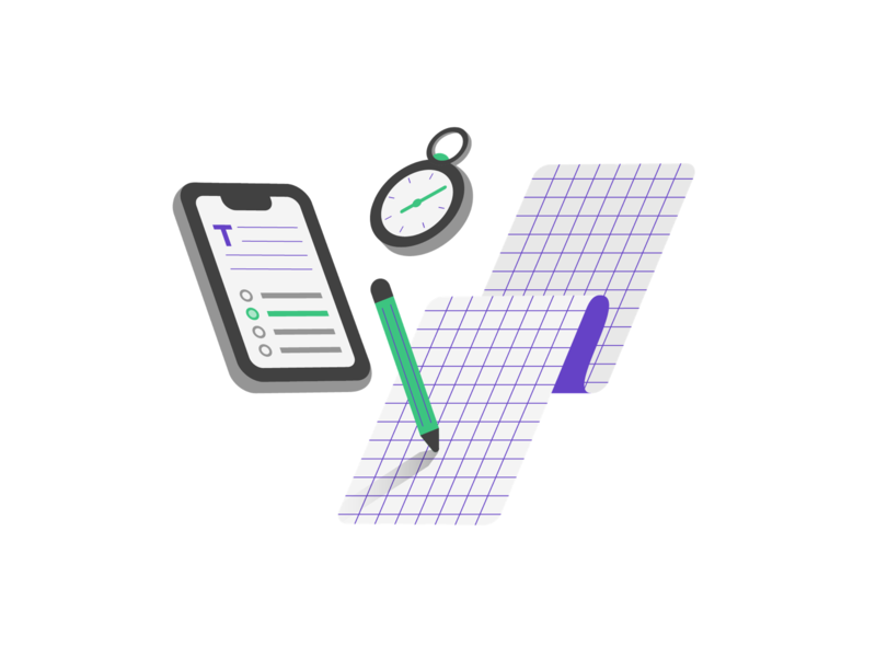 Test Prep on Mobile (1/3) icon minimal math timer act sat prep test iphonex illustration flat app