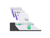 Customized Study Plan (2/3) printer retro futuristic calculation calculator data minimal icon flat illustrator illstration prep test act sat