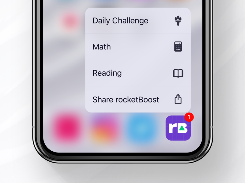 rocketBoost Icon + 3D Touch sketch ux ui logo dailyui test sat prep minimal ios icon flat app