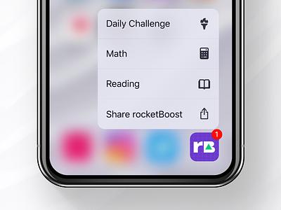 rocketBoost Icon + 3D Touch sketch ux ui logo dailyui test sat prep minimal ios icon flat app