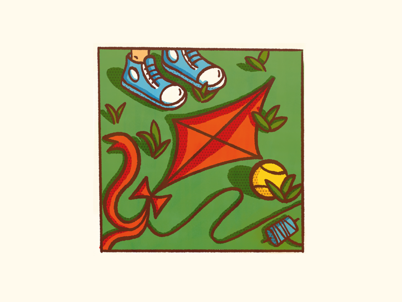 Kite makingarteveryday photoshop procreate fun summer park grass converse shoes tennis ball kite friendly design illustration flat