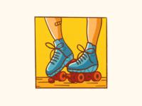 Roller Skates sketch procreate roller derby roller skates icon minimal illustration flat