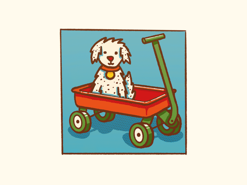 Wagon photoshop red wagon dalmatian dog puppy procreate design icon illustration flat
