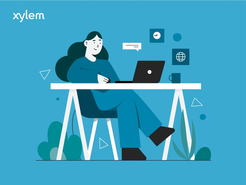 Xylem desk computer vector ui illustration design shape scene girl character