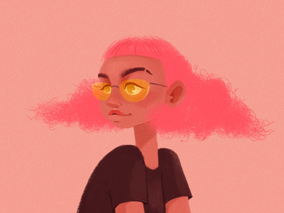 Pink hair girl-illustration character doodle pink girly digitalart girl illustration