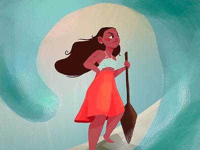 Moana fanart digitalart girl illustration character design disney fanart moana