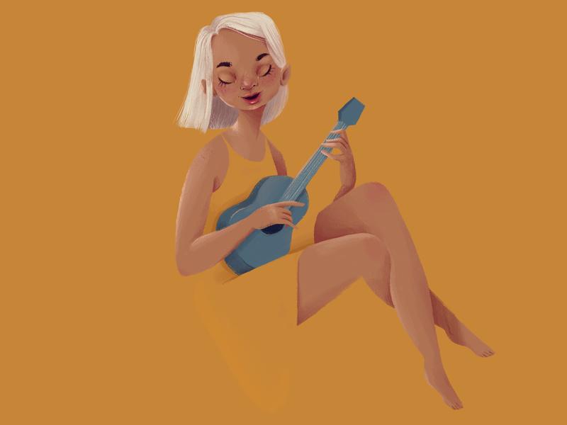 Summer music girl girl-illustration digitalart girly doodle character design illustraion