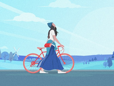 Walking with the wind illustration girl