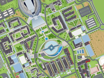 UAE University Campus map illustration illustration campus map