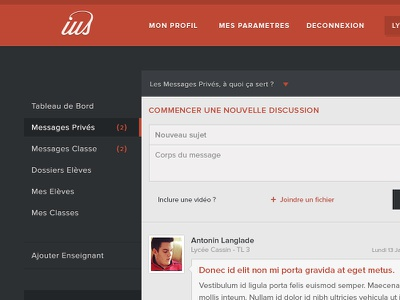 ius - messages privés red retro vintage web ux webdesign ui bleu website flat