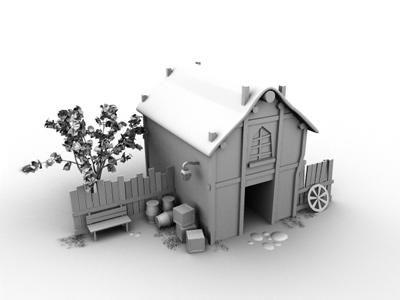 House 3d model in maya