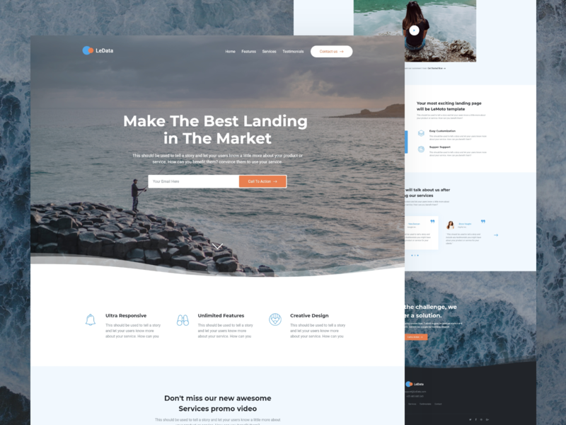 LeData - Responsive Business HTML5 Landing Page minimal animation flat ui design typography landing web themeforest envato