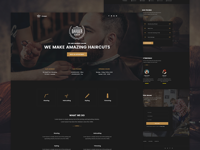 Crown - Barber Landing page crown unbounce themeforest envato