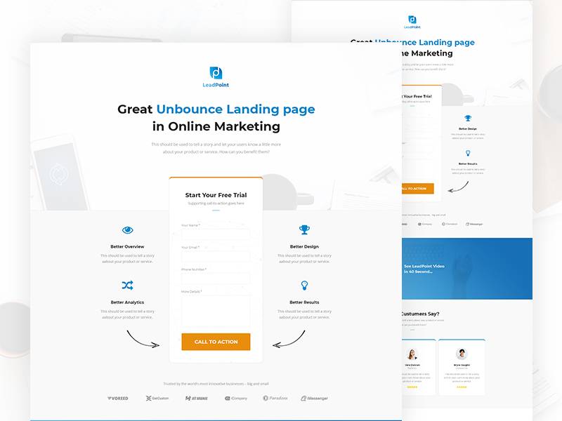 LeadPoint - Lead Generation Unbounce Landing Page Template by Ahmed ...