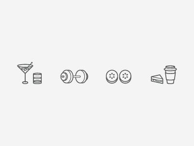 Sandow Benefit Icons icons design monoline benefits snacks spa alcohol drinks