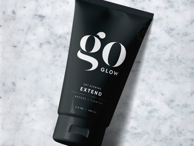 goGLOW Packaging glow tanning sun lotion design brand packaging
